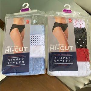 13 Pair of NEW cotton Hi - Cut Panties Sz 7